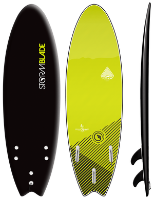 Storm Blade 6ft Swallow Tail Surfboard / BLACK ELECTRIC LEMON GRAPHIC