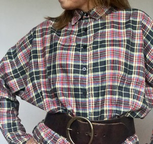 Dolman sleeve Black Plaid Blouse