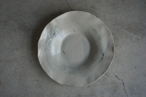 福森 泉 6寸皿 白灰 半ツヤ
