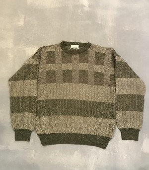 miracle Check×Stripes Sweater / Made in Spain [K-621]