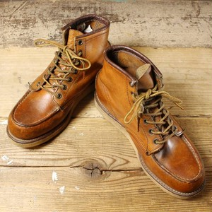 90s USA製 RED WING レッドウィング 875 レザー ワーク ブーツ 25cm相当 6 1/2 ワイズE クラシック モックトゥ 古着 USED 021021aw88