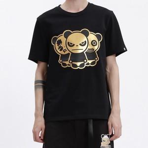 【HIPANDA】メンズ Tシャツ MEN'S TRIO LOGO GOLD PRINT SHORT SLEEVED T-SHIRT / BLACK