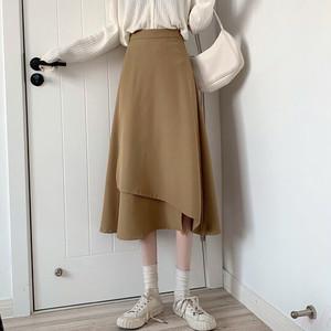 【ボトムス】こだわりデザイン シンプル ハイウエスト すね丈 不規則 スカート42940582