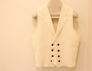 Blu Bre Rib-Knit Vest Off-White