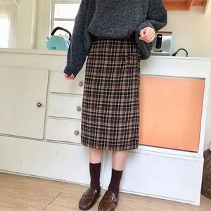 チェック柄 ミモレ丈 スカート【1122】