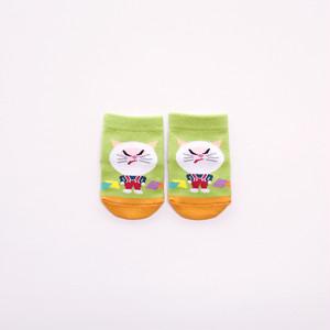 靴下 ベビー/グリーン【ふうせんねこ】【絵本のくつした】