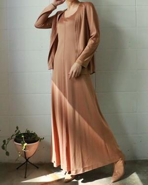 70s cardigan & maxi dress two-piece set