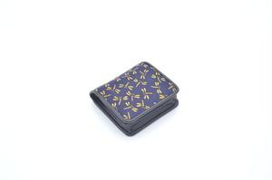 プレミアムカラー印傳 箱型小銭入 紺/黄 トンボ柄