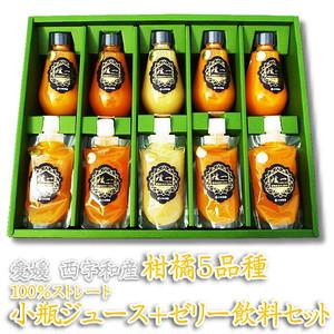 愛媛・西宇和産 柑橘5種 100%ストレート小瓶ジュース+ゼリー飲料セット