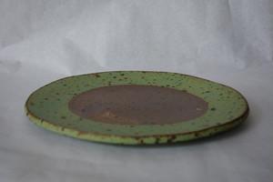 14 縁取り丸板皿 緑色
