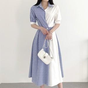 【dress】定番シンプルカジュアル切り替えストライプ柄シャツワンピース3色 M-0611