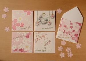 封筒型メッセージカード*桜*カードと桜のシールセット