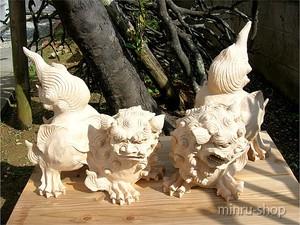 シーサー ホワイト威嚇シーサー 老獅子 450 910004|手作りシーサー|シーサー みんるー商店|