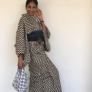 インド綿の浴衣  モノクロジグザグ