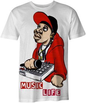 MUSIC LIFE T-Shirt Painted Art - 2 (White)