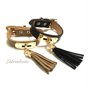 Tassels belt type leather bracelet