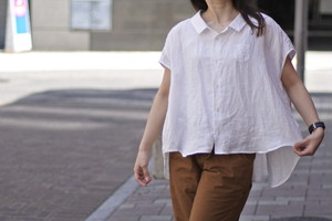 【ORDINARY FITS】LINEN BARBER  NOSLEEVE SHIRTS