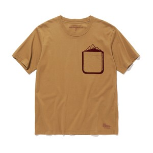 MOUNTAIN PRINTED POCKET T-SHIRT-BEIGE