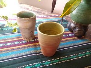 穴窯 薪窯焼締緑釉 湯呑 C-0021