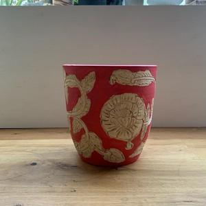 ペイント鉢 - 花柄 M
