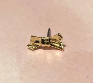ribbon earring 片耳 #17272 gold     りぼん片耳ピアス/イヤリング /ゴールド