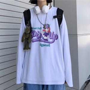 【トップス】カジュアルラウンドネックプリントカートゥーンプルオーバーTシャツ35551452