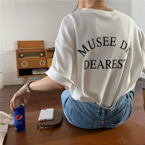 バックロゴプリントルーズTシャツ S1598
