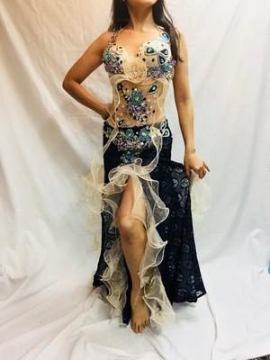 エジプト製 ベリーダンス衣装 コスチューム ブルー レース生地