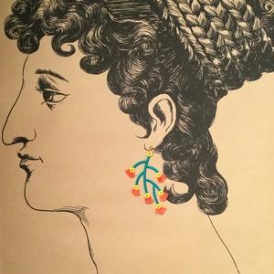 ARRO / 刺繍 / ピアス / イヤリング / BRANCED / ORANGE