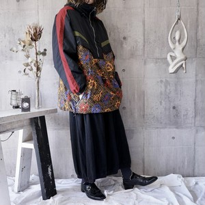 oversized switching pattern nylon pullover