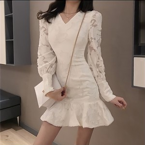 lace flower sleeve dress