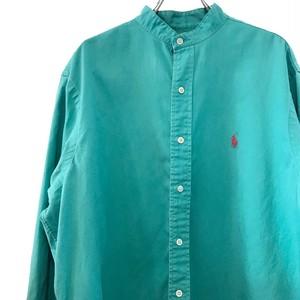 【USED】リメイク ラルフローレン バンドカラーシャツ エメラルドグリーン