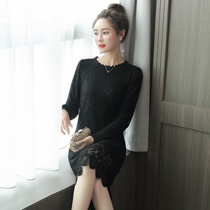 【dress】Long-sleeved slim lace formal dress