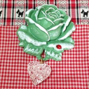 201 大きな薔薇の帯飾り(グリーン)