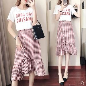 大きいサイズ レディース  Tシャツ&チェック柄マーメイドスカート 2点セット セットアップ 上下セット 半袖 春夏