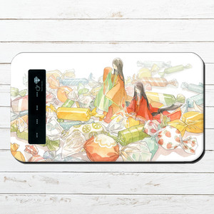 #081-032 モバイルバッテリー おすすめ iPhone Android かわいい おしゃれ 和風 イラスト スマホ 充電器 タイトル:「いとお菓子」 作:嘉村ギミ