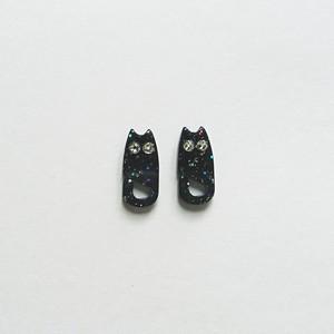 全身にゃんこ ピアス&イヤリング ラメ黒猫