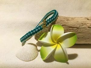 ハワイアンコード 【ブレスレット マグネット式】(グリーン&ホワイト) 海 ビーチ アジアン リゾート プレゼント