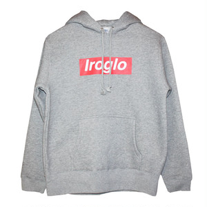 IROGLO(イログロ)×N°D(ナンバーディー)BOX LOGO/裏起毛/プルオーバーパーカー/グレー