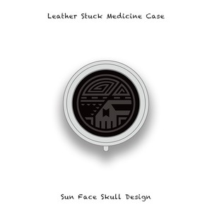 Leather Stuck Medicine Case ( Small Round Shape ) / Sun Face Skull Design 005