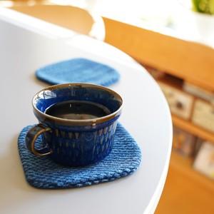 うしじま縫製 | 武州正藍染 四角コースター 二重刺子