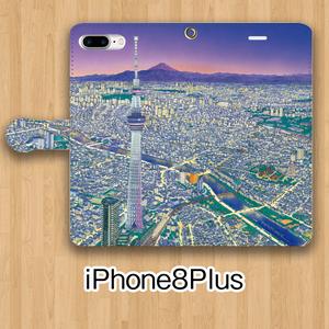 【受注生産】パノラマ浅草・夜景 iPhone8Plus用 手帳型ケース