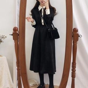 【ワンピース】ファッションPOLOネック膝上ボタン配色ワンピース36350152