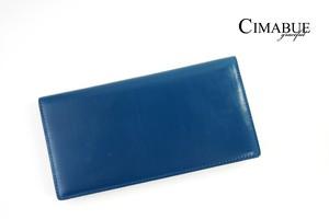 チマブエ グレースフル|CIMABUE graceful |ブライドルレザーかぶせ薄型長財布|15051|ブルー