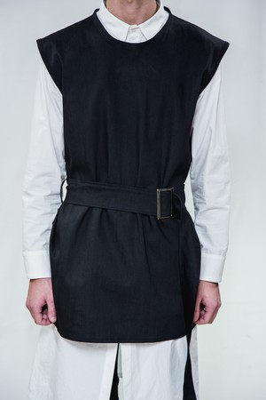 18SS Long Belt Black Denim Vest