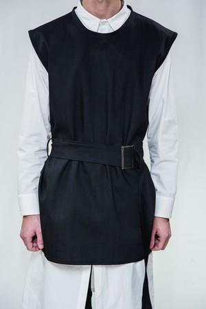 18SS Long Belt Black Denim Vest