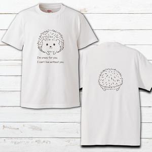 プリントTシャツ オリジナル 半袖 レディース かわいい おしゃれ ハリネズミ 動物 イラスト 両面印刷 タイトル:ハリケツTシャツ 作:Hanami