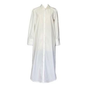 GIZA×スーピマコットンパイピングロングシャツドレス