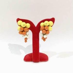 オレンジ×イエロー×ホワイトのイヤリング【アメリカ製】1960年代ヴィンテージ◆アンティークビーズ◆イヤリング【中古】