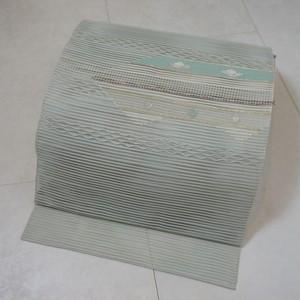 未使用【夏帯】絽綴れ 名古屋帯 花柄 絹 金銀糸 アイスグリーン 255